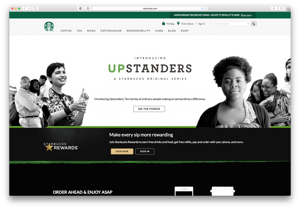 The Starbucks website viewed in a desktop browser. You can see the full navigation menu across the top.