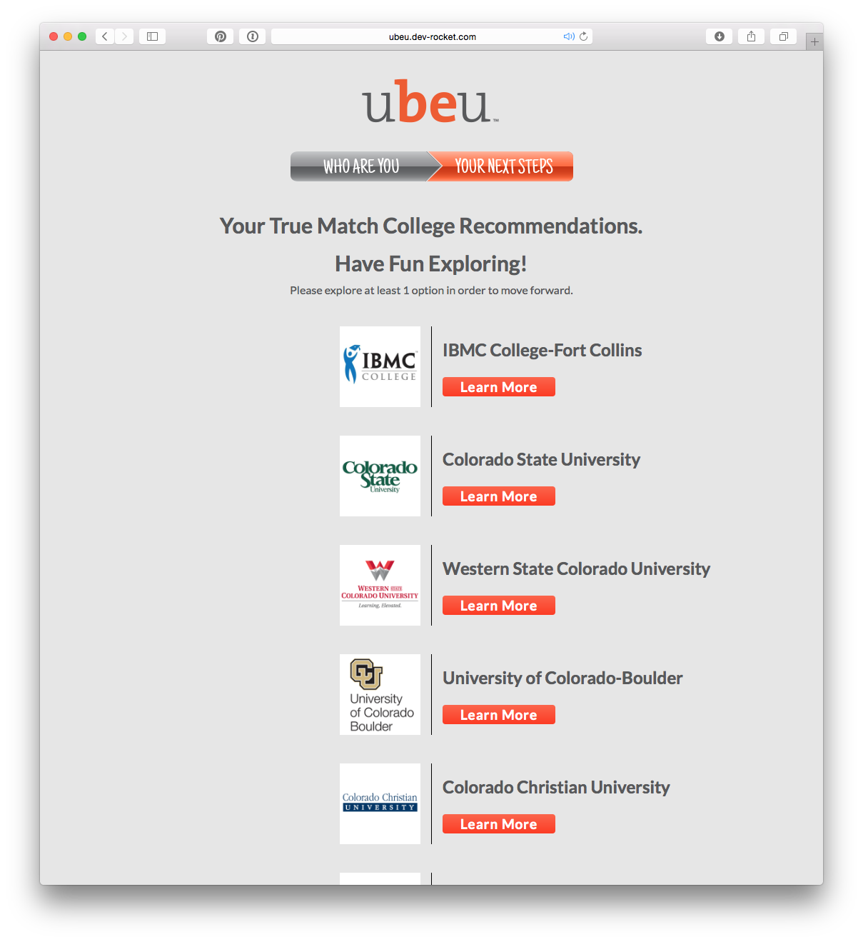 University recommendations