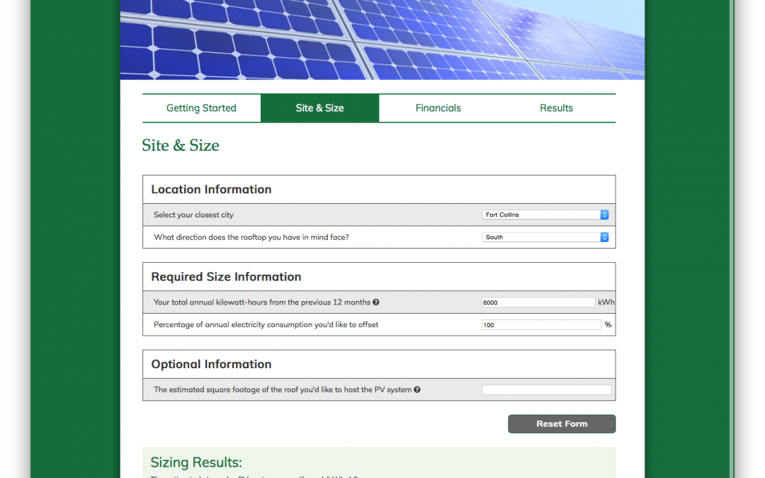Project Update: CSU Solar Panel Calculator